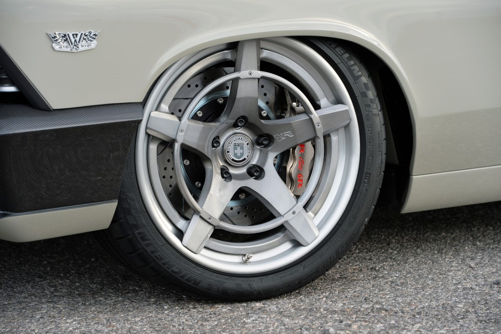 """Recoil"" three-piece forged wheels from HRE are extremely strong and relatively light, given their size."