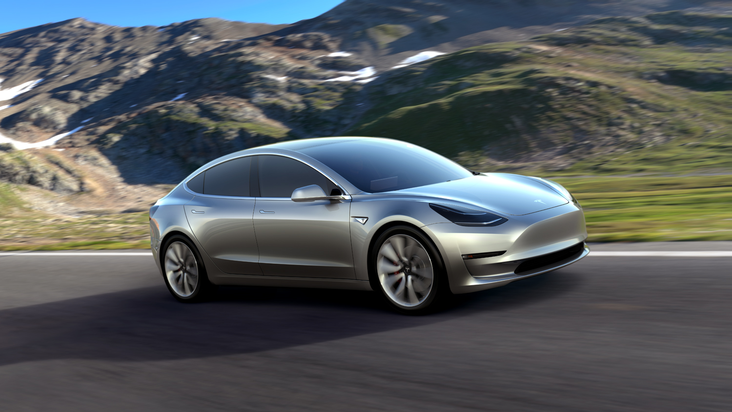 tesla model 3 mountain road