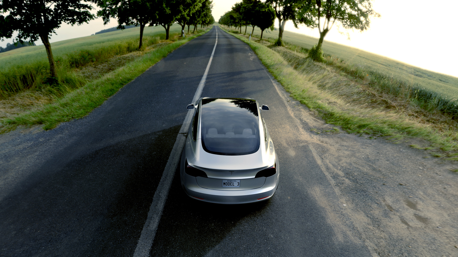 tesla model 3 country road