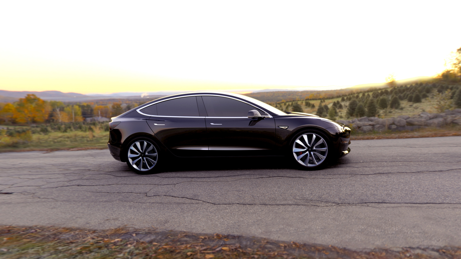 black tesla model 3 side