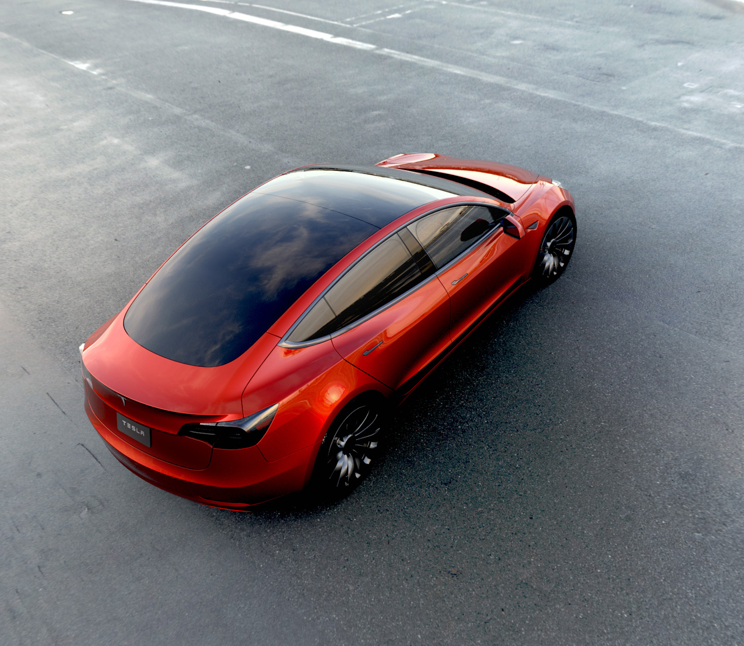 red tesla model 3 rear three quarter