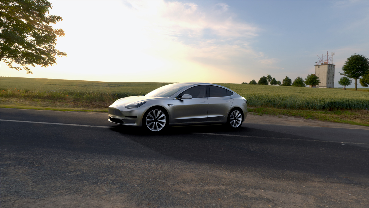 grey tesla model 3 front 3 quarter